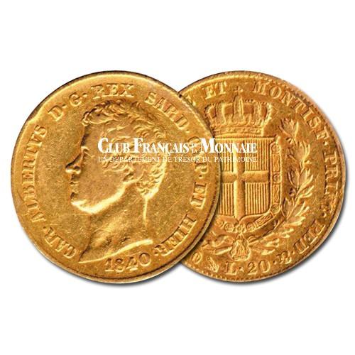 20 Lires Or Charles Albert (1798-1849) - Royaume de Sardaigne