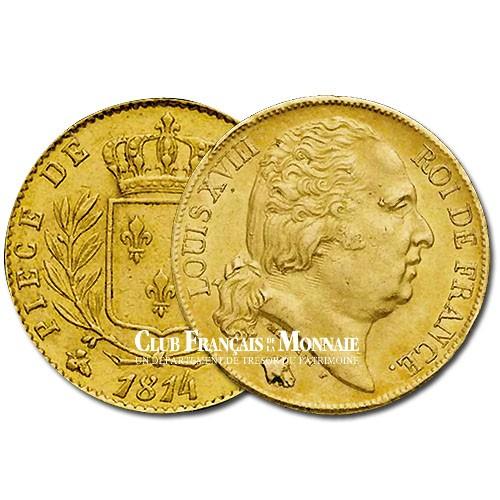 20 Frs Or Louis XVIII Buste Nu 1817Q