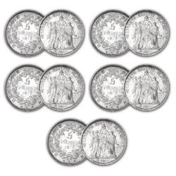 Lot de 5 x 5 Francs Argent Hercule IIIe  République