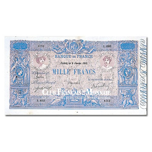 Billet de 1000 Francs Bleu et Rose