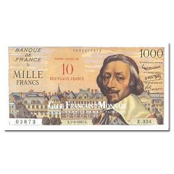 Billet de 10 Nouveaux Francs Richelieu Surchargé 1 000F