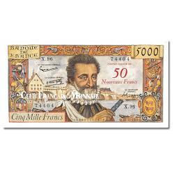 Billet de 50 Nouveaux Francs Henri IV Surchargé 5 000F