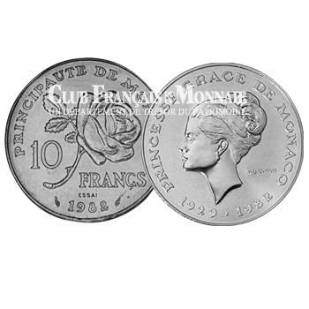 1982- MONACO - 10 Francs Argent Essai Princesse Grace BE