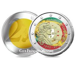 2 Euro 100 ans de la République portugaise colorisée - Portugal 2010