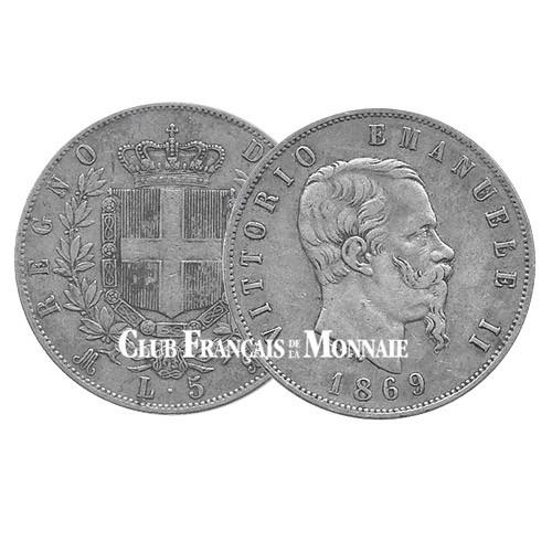 5 Lires Argent Victor Emmanuel II - Italie
