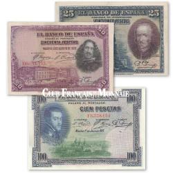 Lot de 3 billets Espagnols 1925 -1928