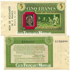 Bon de Solidarité de 5 Francs avec souche - France 1941-1943