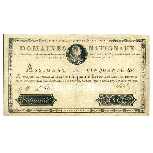 Assignat de 50 Livres Louis XVI - France 1790-1792
