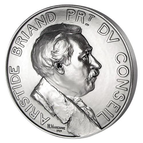 Aristide Briand - Bronze argenté