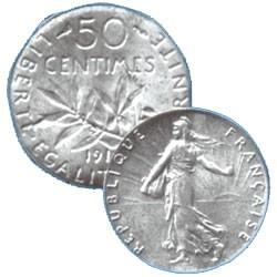 LES 6 PIECES 50 CENTIMES ARGENT SEMEUSE 3e REPUBLIQUE