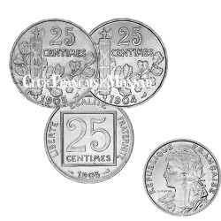 Lot des 3 x 25 centimes Patey