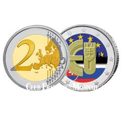 2 Euro Slovaquie 2014 colorisée - 10 ans de l'entrée de la Slovaquie dans l'UE