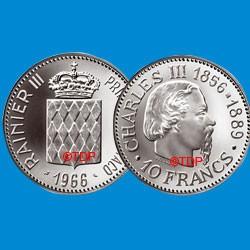 1966 - MONACO - 10 Francs Argent Charles III FDC