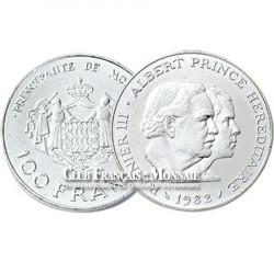1982 - MONACO - 100 Francs argent Rainier/Albert