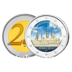 2 Euro Lettonie 2014 colorisée - Riga