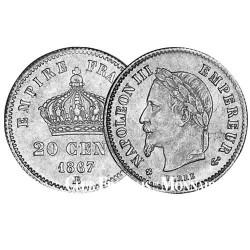 20 centimes Argent Napoléon III TL 1867BB - France