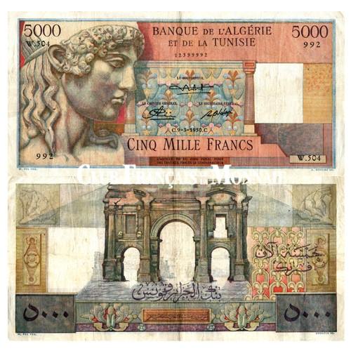 Billet 5000F Algérie et Tunisie