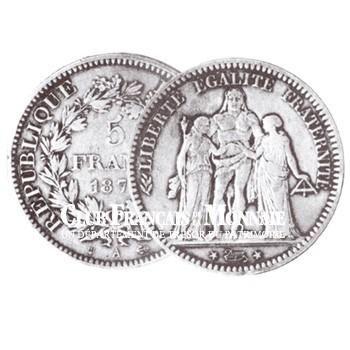 1874 - 5 FRANCS ARGENT HERCULE