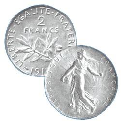 LES 5 PIECES 2 FRANCS ARGENT TYPE SEMEUSE 3e REPUBLIQUE