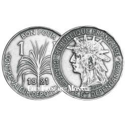 1 Franc Guadeloupe 1903 à 1921 - Tête d'Indien et canne à sucre