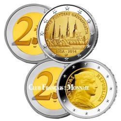Lot de 2 x 2 Euro Lettonie 2014