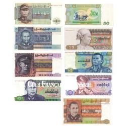 9 Billets en Kyats Birmanie 1972-1987
