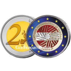 2 Euro Lettonie colorisée 2015 - Présidence de l'UE