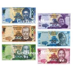 Set de 6 billets neufs Malawi 2012
