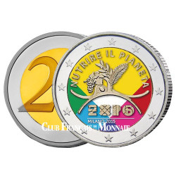 2 Euro colorisée Italie 2015 - Exposition universelle de Milan