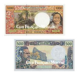 Lot de 2 billets 500 Francs + 1000 Francs CFP 1992-1996