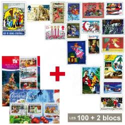 100 timbres Noël + 2 Blocs de Noël OFFERTS