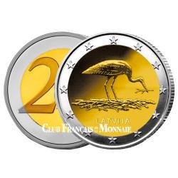 2 Euro Lettonie 2015 - La cigogne noire