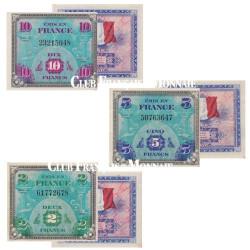 Set de 3 billets drapeaux 1944