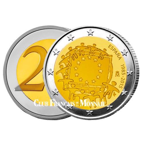 2 Euro Espagne 2015 - 30ème anniversaire du  drapeau européen