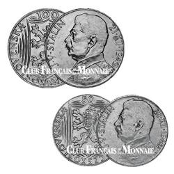 Lot de 2 pièces 50 et 100 Koruns - Tchécoslovaquie 1949 - 70 ans de Joseph Staline