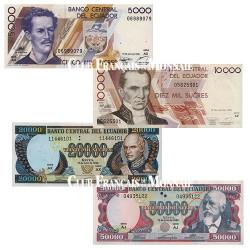 Lot de 4 billets - Equateur 1999