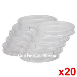 Lot de 20 capsules rondes pour monnaies de 34 mm