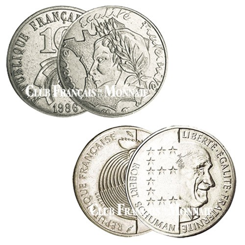 Lot de 2 pièces de 10 Francs Nickel