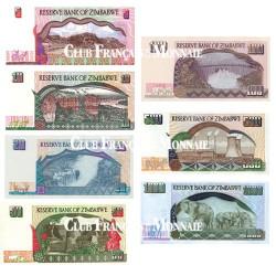 Lot de 7 billets Zimbabwe 1994-2004 - Avant inflation