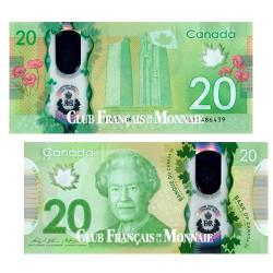 Billet de 20 Dollars polymère Canada 2015
