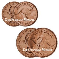 Set 2 monnaies Australie 1955-1964 - ½ penny + 1 penny