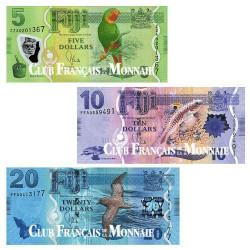 Lot de 3 billets Fidji 2012
