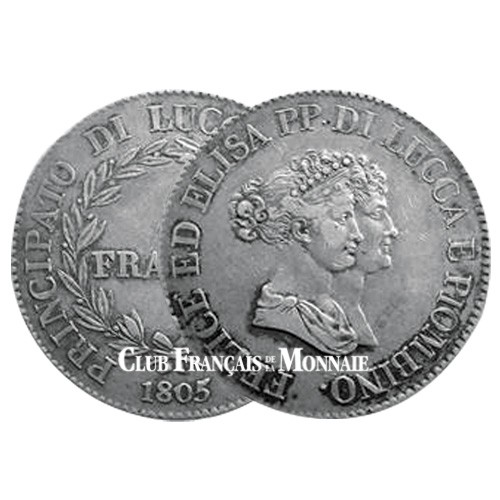 5 Francs Argent Elisa Bonaparte et Felix Baciocchi - Princes de Lucques et de Piombino