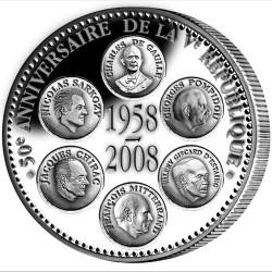 50e Anniversaire de la Ve République en Argent