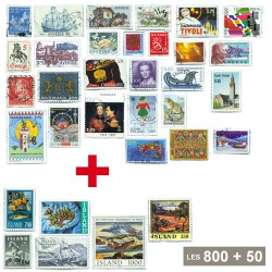 800 timbres Scandinaves* + 50 timbres Islande OFFERTS