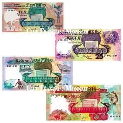 Lot de 4 billets Seychelles 1989