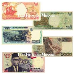 Set de 5 billets Indonésie  1994-2000