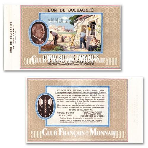 Bon de solidarité Pétain 5000 Francs 1941-1942
