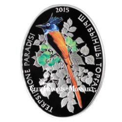 500 Tenge Argent colorisée Kazakhstan BE 2015 - Oiseau Tchitrec  de paradis