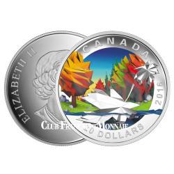 20 Dollars Argent Canada BE 2016 colorisée - Paysage d'automne